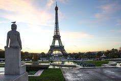 Torre Eiffel con l'uccello sulla statua Posto di Trocadero parigi france Fotografia Stock