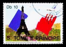Torre Eiffel, Concorde, serie del bicentenario de la Revolución Francesa, circa 1989 foto de archivo