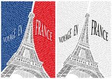 Torre Eiffel dai nomi delle attrazioni di Fotografia Stock Libera da Diritti