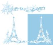 Torre Eiffel de la estación del invierno ilustración del vector