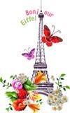 Torre Eiffel del bonjour del vector con las rosas y las mariposas Fotos de archivo libres de regalías