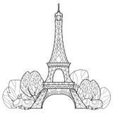Torre Eiffel del garabato Bosquejo dibujado mano del vector Fotografía de archivo