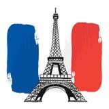 Torre Eiffel della Francia e bandiera, materiale illustrativo di vettore Immagine Stock