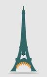 Torre Eiffel di Parigi con il fronte del fumetto Fotografie Stock
