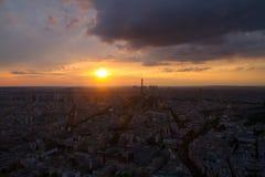 Torre Eiffel di Parigi, vista di tramonto da Montparnasse Fotografia Stock Libera da Diritti