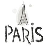 Torre Eiffel Diseño dibujado mano del cartel del ejemplo del vector de la letra de París Fotos de archivo