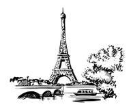 Torre Eiffel do vetor da tração da mão ilustração do vetor
