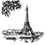 Torre Eiffel do vetor da tração da mão ilustração royalty free