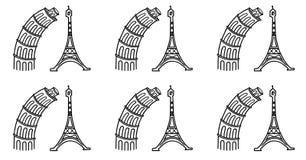 Torre Eiffel e a torre inclinada de Pisa, desenho cômico em um fundo branco Foto de Stock Royalty Free
