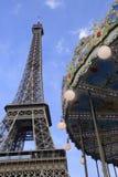 Torre Eiffel e la ruota panoramica Fotografia Stock Libera da Diritti