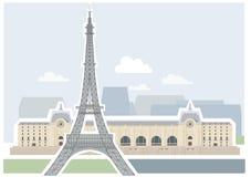 Torre Eiffel e museu d'Orsay - Paris. ilustração royalty free