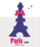 Torre Eiffel e un nastro rosa Fotografia Stock