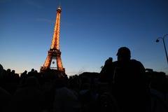 Torre Eiffel en el día nacional Foto de archivo libre de regalías