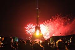 Torre Eiffel en el día nacional Fotografía de archivo
