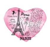 Torre Eiffel en el fondo del corazón de la acuarela Fotografía de archivo