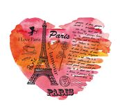 Torre Eiffel en el fondo del corazón de la acuarela Imagenes de archivo