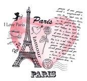Torre Eiffel en el fondo del corazón de la acuarela Imagen de archivo