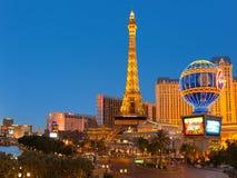 Torre Eiffel en la tira en Las Vegas Imágenes de archivo libres de regalías