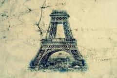 Torre Eiffel en París Fondo de la opinión del vintage Viaje a la foto retra vieja del estilo de Eiffel con el papel arrugado las  stock de ilustración