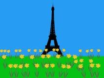Torre Eiffel en primavera stock de ilustración