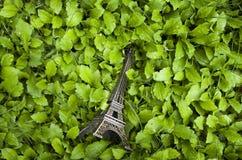 Torre Eiffel en un pedazo de hierba Fotos de archivo