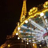 Torre Eiffel i caroussel Zdjęcie Royalty Free