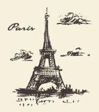 Torre Eiffel, mano del vintage de París Francia dibujada ilustración del vector