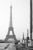 Torre Eiffel na manhã em preto e branco Paris, France Fotografia de Stock Royalty Free