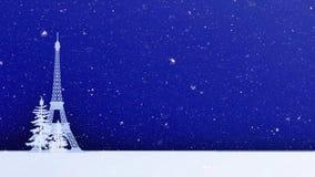 Torre Eiffel nell'inverno Parigi Immagini Stock Libere da Diritti