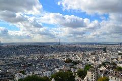 Torre Eiffel, opinião do monte de Montmartre, Paris, França Fotografia de Stock
