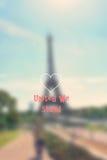 Torre Eiffel, París, Francia, Europa con el fondo y los gráficos borrosos Fotos de archivo
