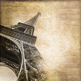Torre Eiffel Parigi, carta d'annata di stile Fotografie Stock Libere da Diritti