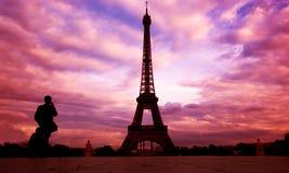Torre Eiffel. Parigi, Fance al tramonto Fotografie Stock