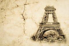 Torre Eiffel a Parigi Fondo d'annata di vista Visiti la vecchia retro foto di stile di Eiffel con carta sgualcita crepe illustrazione di stock