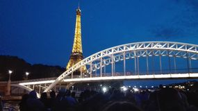 Torre Eiffel + ponte di Parigi Immagine Stock Libera da Diritti