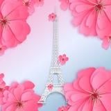 Torre Eiffel Projeto do corte do papel ilustração royalty free