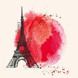 Torre Eiffel, respingo vermelho da aquarela Cartão de Paris ilustração stock