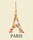 Torre Eiffel Sightseeing de Paris e de França Cartão romântico do turista no estilo do vintage ilustração royalty free