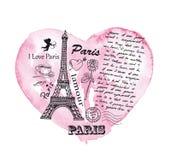 Torre Eiffel sui precedenti del cuore dell'acquerello Fotografie Stock Libere da Diritti