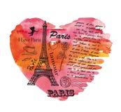 Torre Eiffel sui precedenti del cuore dell'acquerello Immagini Stock