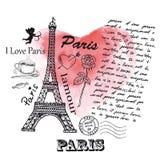 Torre Eiffel sui precedenti del cuore dell'acquerello Fotografia Stock