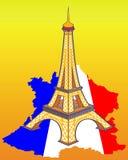 Torre Eiffel sulla mappa della Francia Immagini Stock Libere da Diritti