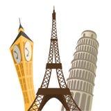 Torre Eiffel, torre de Pisa e interdicción grande ilustración del vector