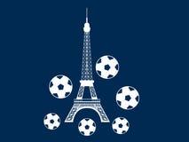 Torre Eiffel y bola Balón de fútbol y un símbolo de Francia Vector Imagenes de archivo