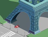 Torre Eiffel y coche rojo Foto de archivo libre de regalías