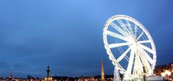 Torre Eiffel y obelisco París Francia de la rueda de Ferris Imágenes de archivo libres de regalías