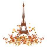 Torre Eiffel y pequeño pájaro entre ramas del otoño Foto de archivo