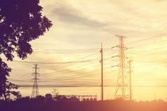 Torre elétrica da transmissão do foco macio Imagem de Stock Royalty Free