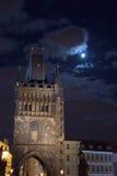 Torre en el claro de luna Fotos de archivo
