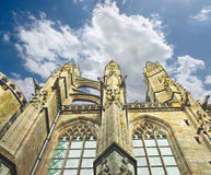 Torre en la abadía de Mont Saint Michel. Fotografía de archivo